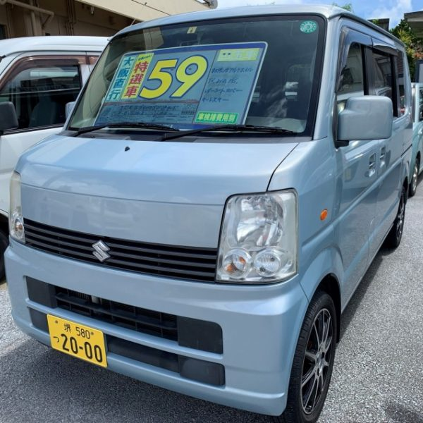 エブリイワゴン JPターボ 水色 59万円 H19年式 走行10.4万km 車検R4年8月